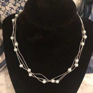 NIB Lia Sophia Gray Pearl Triple Strand Necklace